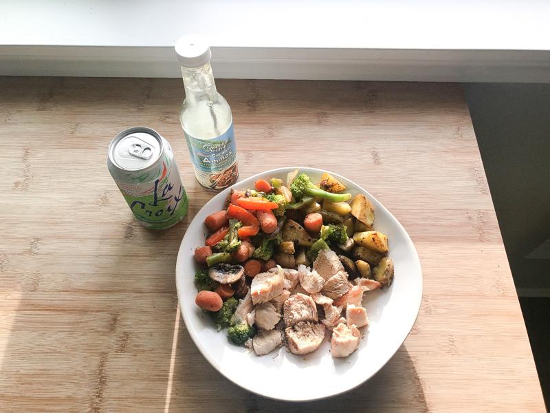 Grilled Chicken and Veggies Coconut Aminos LA croix