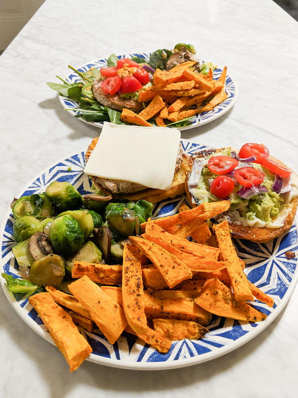 Photo of Homemade Sweet Potato Fries and veggies with a turkey burger for For Jessica Wallas Foodie Blog