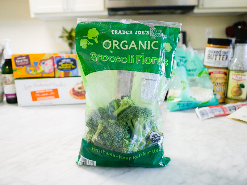 Trader Joes Organic Broccoli Florets On A Marble Countertop for Jessica Wallas YouTube Video About Favorites Keto and Whole30