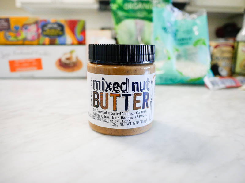 Trader Joes Mixed Nut Butter On A Marble Countertop for Jessica Wallas YouTube Video About Favorites Keto and Whole30