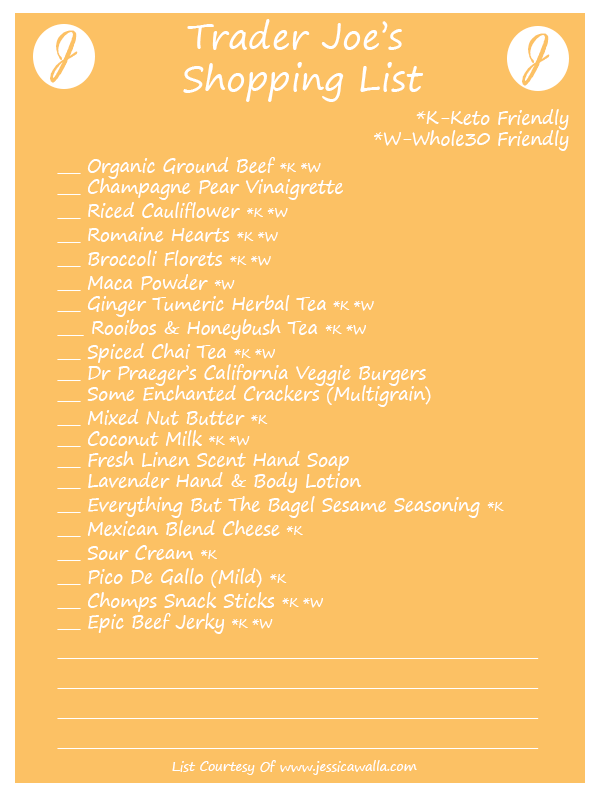 trader joes shopping list with favorites for whole30 whole thirty and keto ketogenic diets