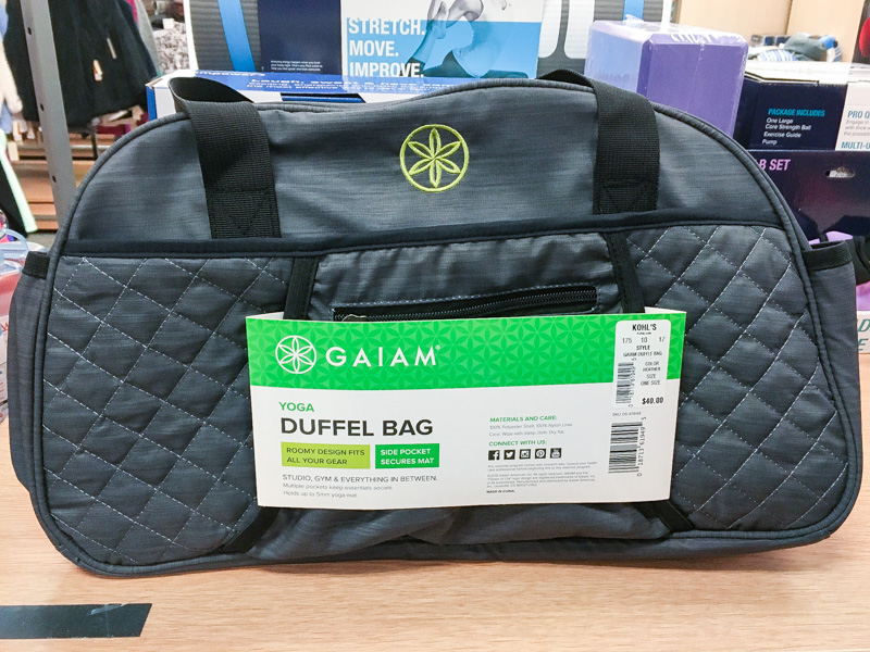 black and grey gaiam yoga duffle bag in the workout and fitness section of kohls
