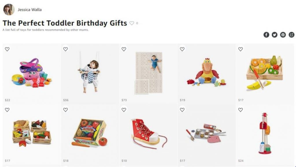 A screenshot of an amazon list suggesting the perfect toddler birthday gifts like a puzzle and swing and baby cleaning set
