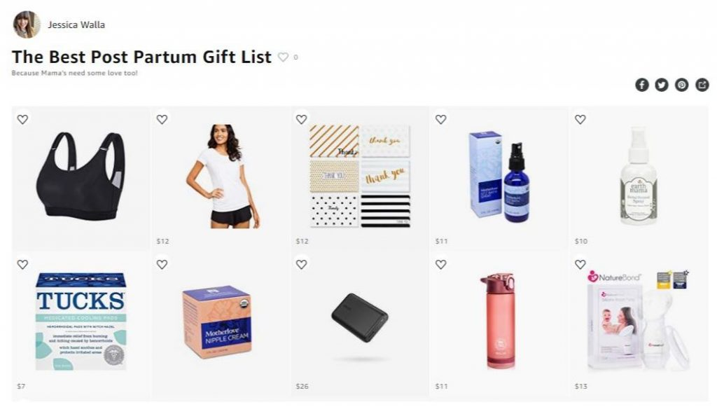 A screenshot of an amazon list suggesting the best post partum gifts for a mom who just gave birth to a baby like a water bottle and perineal spray