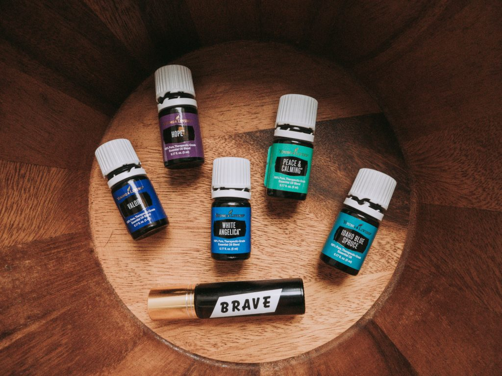 Young Living Essential Oils for Anxiety and A Roller Bottle With White Angelica, Peace and Calming, Valor, Idaho Blue Spruce, and Hope oils
